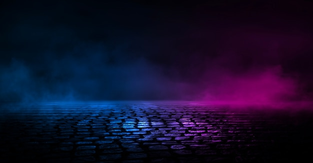 Dark street background, reflection of blue and red neon on the asphalt.