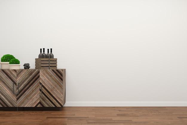 Dark Wood Floor White Wall 3d Render Background Photo Premium Download