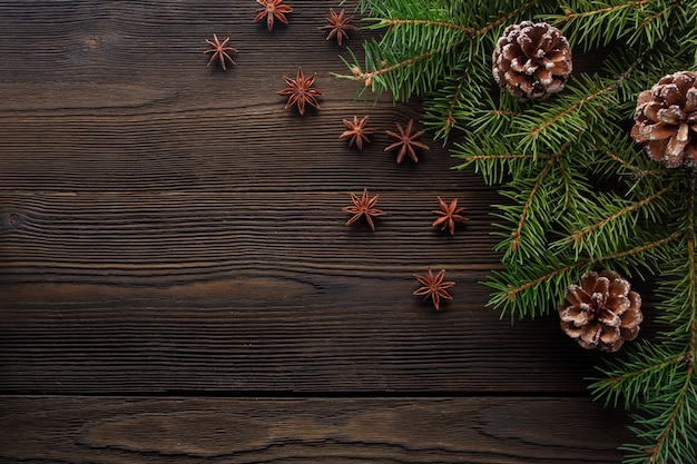 Dark Wood Table With Pine Decorated Christmas Photo Free