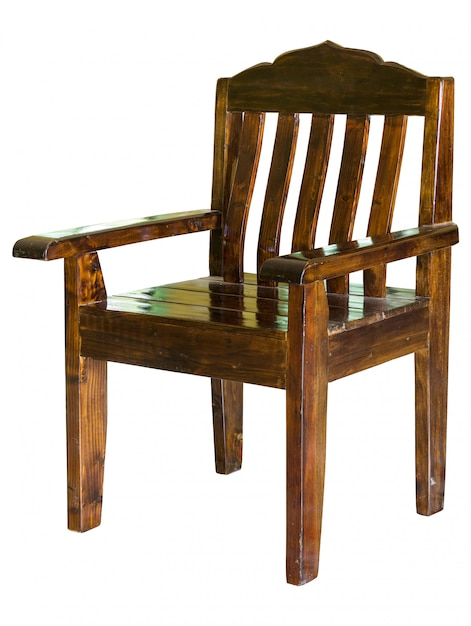 Dark wooden chair isolated on white with clipping path Premium Photo