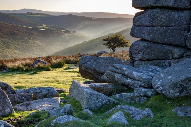 英国の朝の陽光の下で丘に囲まれたダートムーア国立公園 無料写真