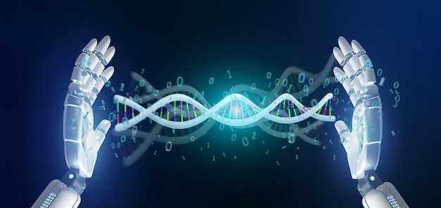 Data coded dna with binary file around 3d rendering Premium Photo