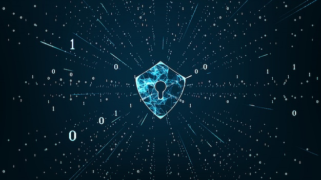 Data protection cyber security concept with shield icon in cyber space. Premium Photo
