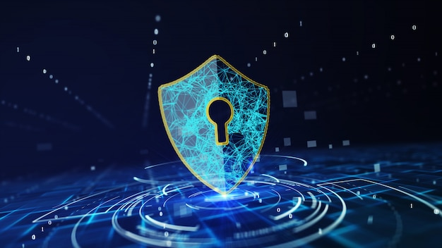 Data protection cyber security concept . Premium Photo