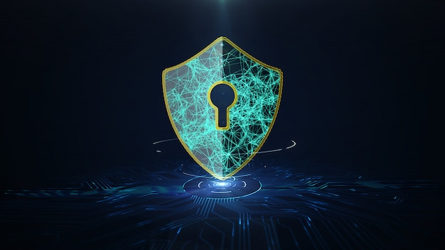Data protection cyber security concept. Premium Photo