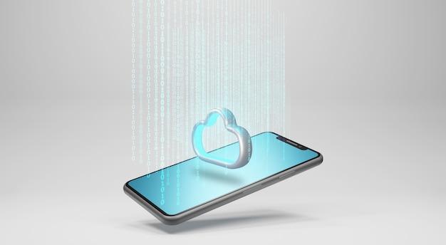 Данные в облачное хранилище. концепция технологии облачных вычислений, 3d-рендеринг Premium Фотографии
