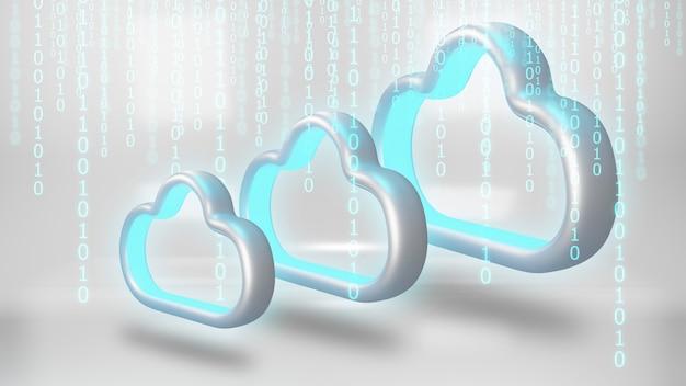Данные в облачное хранилище. концепция технологии облачных вычислений. Premium Фотографии