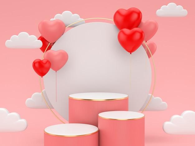 ディスプレイ製品のバレンタインのday.abstractシーンの3 dレンダリング表彰台。 Premium写真