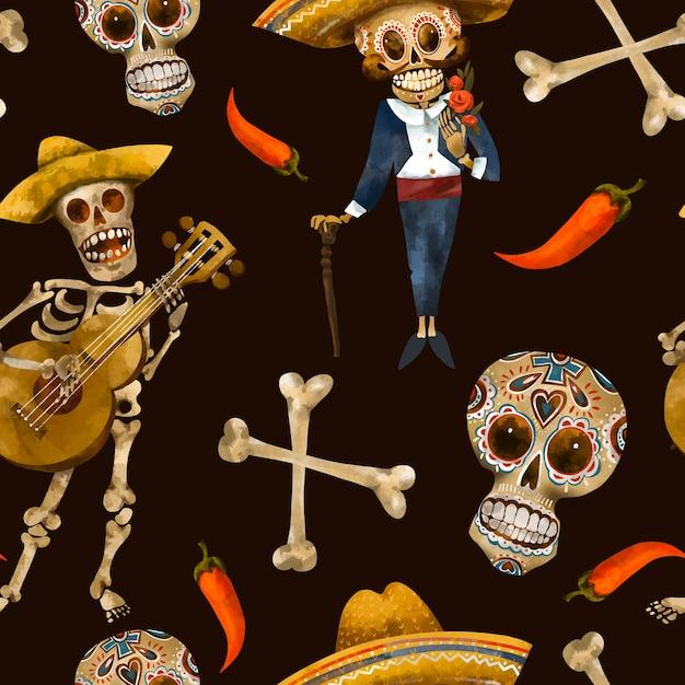 死んだシームレスパターンの日。砂糖の頭蓋骨のテクスチャ、黒の背景にシンコデマヨの壁紙 Premium写真
