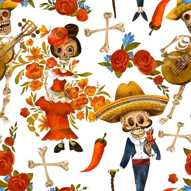 死んだシームレスパターンの日。砂糖の頭蓋骨のテクスチャ、白い背景の上のシンコデマヨの壁紙 Premium写真