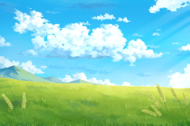 Premium Photo Day Sky Clouds Anime Background