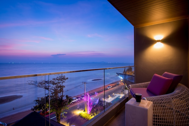 Daybed beach chair in  balcony, hotel room, pattaya, thailand Premium Photo