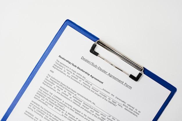Форма соглашения с дилером и субдилером Premium Фотографии