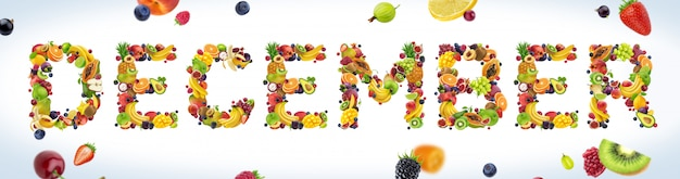 December word made of tropical and exotic fruits Premium Photo