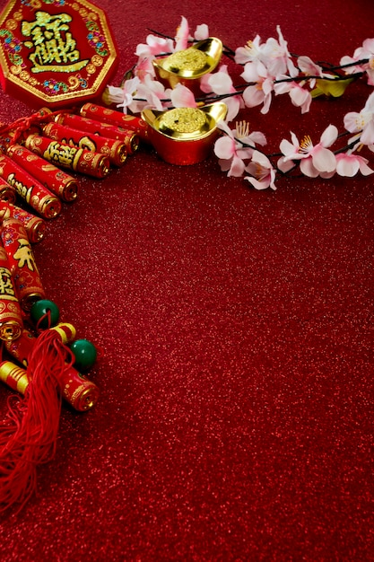 Decorate chinese new year festival on red Premium Photo