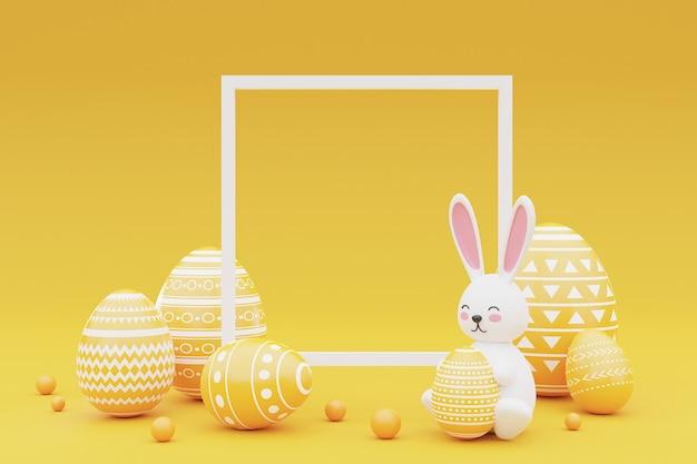 노란색 배경에 프레임 토끼와 부활절 달걀을 장식. 부활절 Holiday.3d 렌더링의 개념입니다. 프리미엄 사진