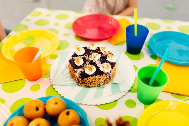 decorated table with party snacks photo free download