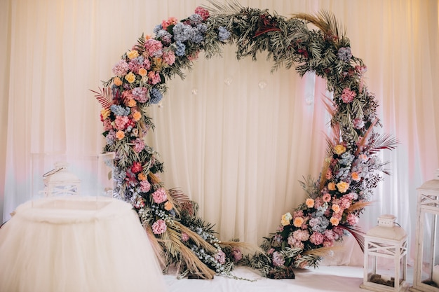 Decorated wedding tables and hall interior Free Photo