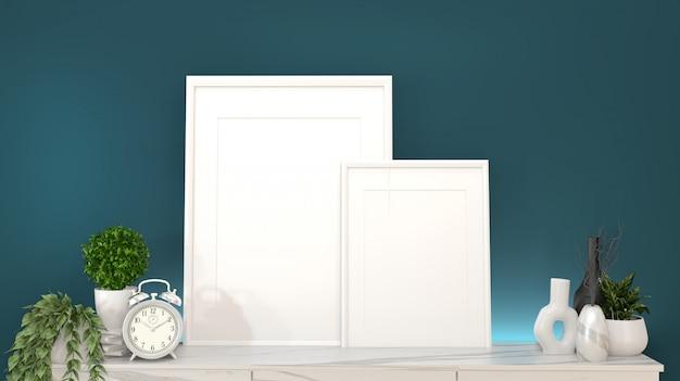 濃い緑色の部屋とdecoration.3dレンダリングで花崗岩のキャビネット上のフレーム Premium写真