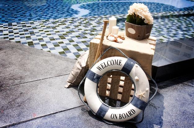 Decoration swimming pool in marine concept Premium Photo