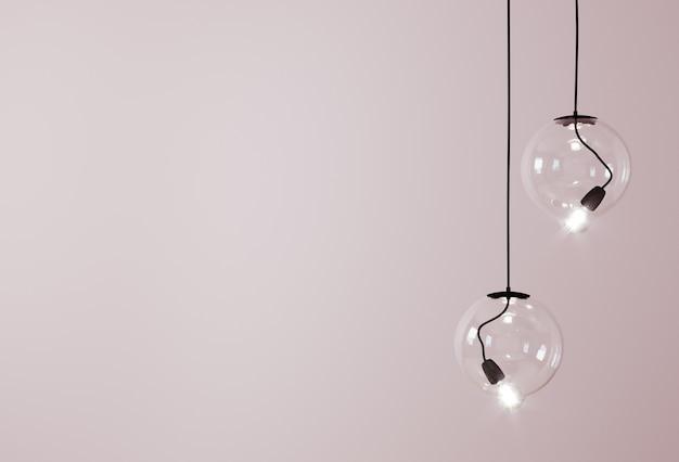 Декоративные потолочные светильники / подвесные светильники на розовом фоне с копией пространства. 3d-рендеринг Premium Фотографии