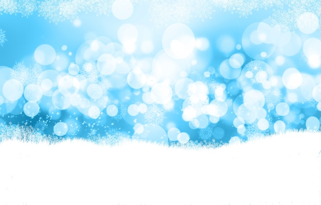 Decorative christmas background with bokeh lights and snowflakes Free Photo