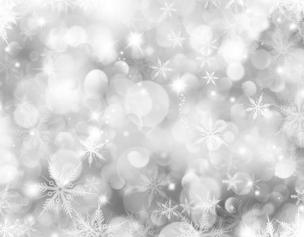 Декоративный новогодний фон со снежинками и звездами Бесплатные Фотографии