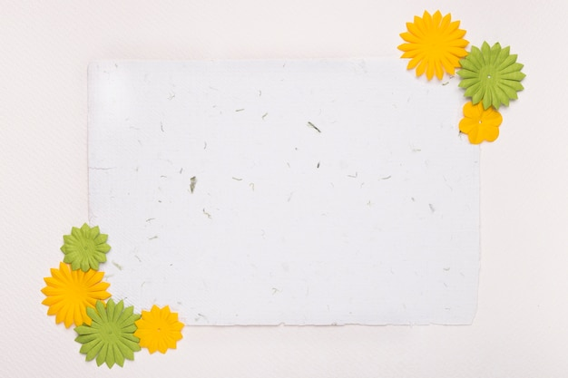 Decorative flowers on the corner of blank paper against white backdrop Free Photo