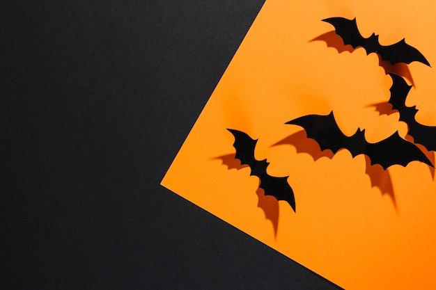 Decorative halloween bats sitting on orange sheet of paper Free Photo