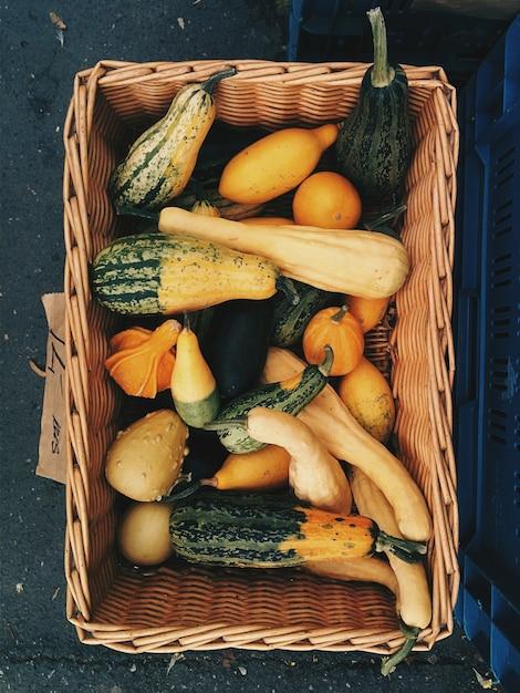 Decorative pumpkins in basket Free Photo