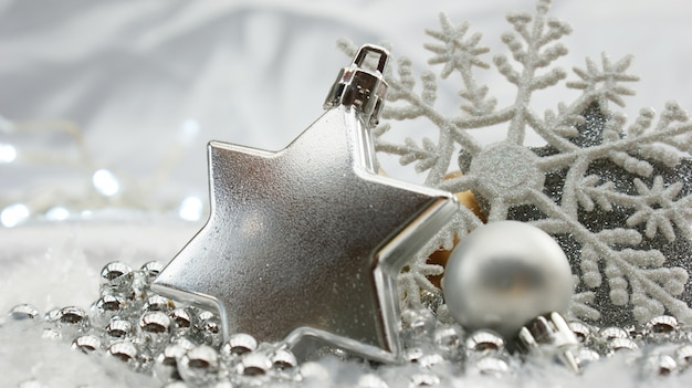 Decorative silver christmas background Photo | Free Download