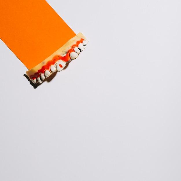 Decorative teeth on piece of orange paper Free Photo