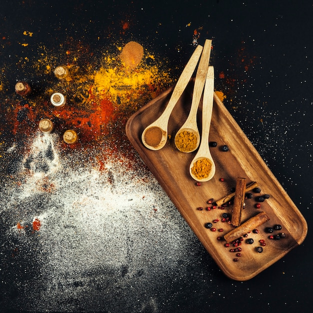 Decorative top view of oriental spices Free Photo