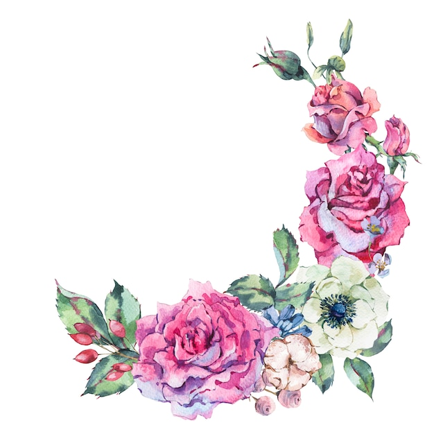 Decorative vintage watercolor pink roses, nature floral wreath Premium Photo