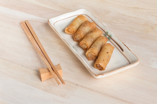 Deep fried spring rolls with pork stuffed Premium Photo