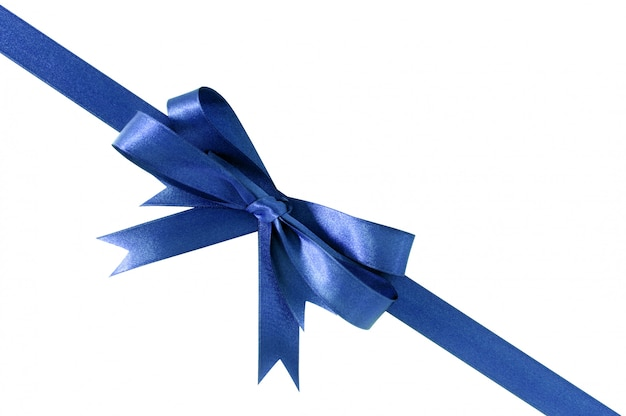 Deep royal blue gift ribbon bow corner diagonal isolated on