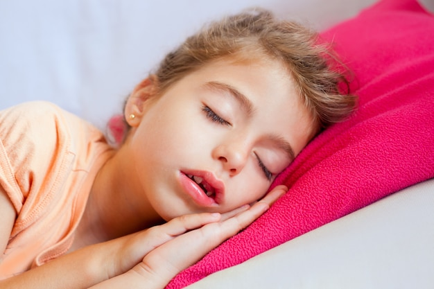 Deep sleeping children girl closeup portrait Premium Photo