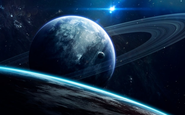 Deep space beauty, planets, stars and galaxies in endless universe. Premium Photo