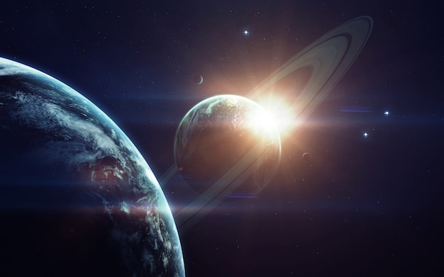 Deep space imagination, planets, stars and galaxies in endless universe Premium Photo