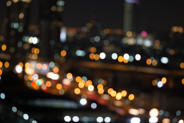 Defocused city night light blurred with bokeh abstract ...