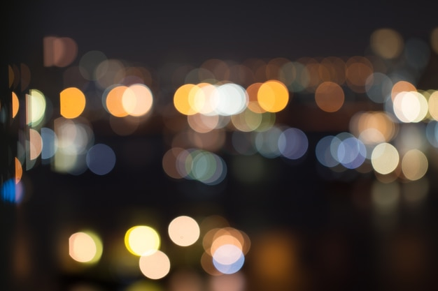 Defocused city night light blurred with bokeh abstract