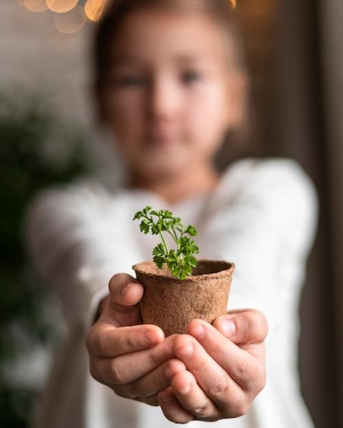 自宅のポットに植物を保持している焦点がぼけた少女 無料写真