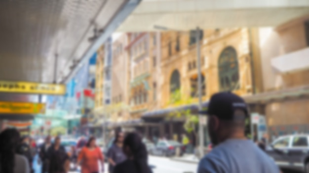 Defocused photo of a street with people Free Photo