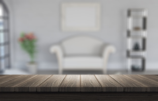 Defocussed部屋のインテリアを探して木製のテーブルの3dレンダリング 無料写真