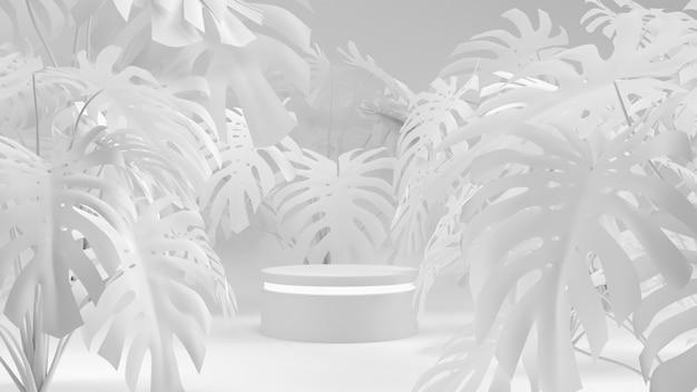 Deliciosa with geometric shape white scene concept presentation product 3d rendering. Premium Photo