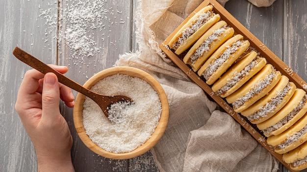 おいしいアルファジョレスクッキーのコンセプト 無料写真