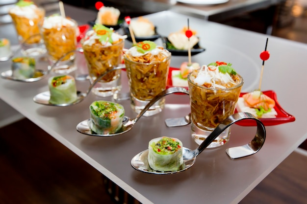 Delicious appetizer and finger foods Premium Photo