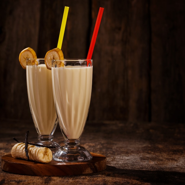 Delicious banana milkshake Free Photo