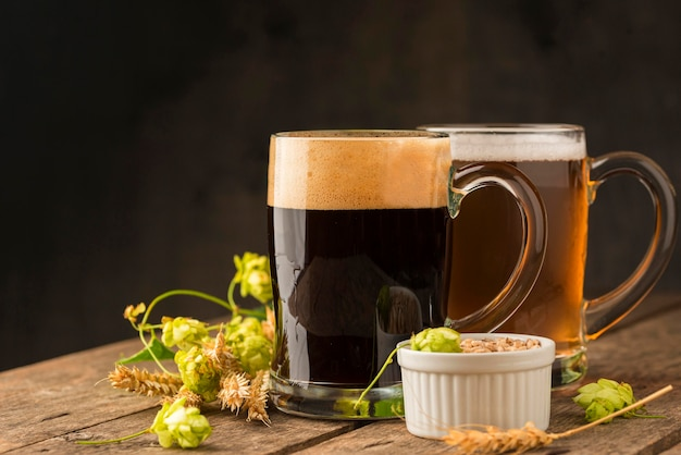 美味しいビールと具材 無料写真