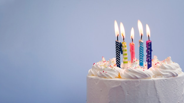 Delicious birthday cake with copy space Free Photo